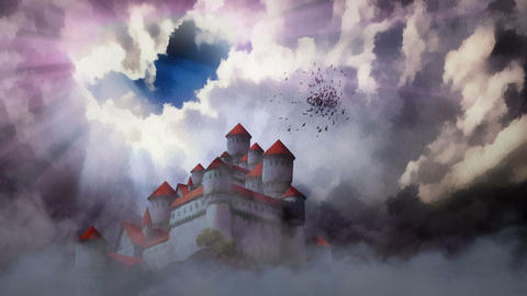 Castle Above The Clouds stock footage
