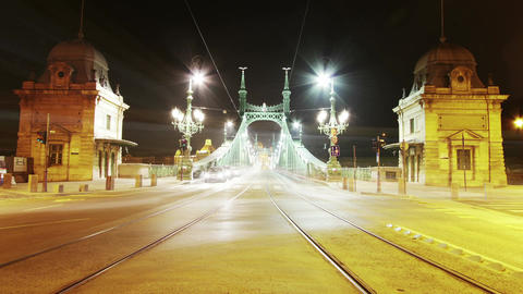 4K Liberty Bridge at Night Hungary Timelapse Footage