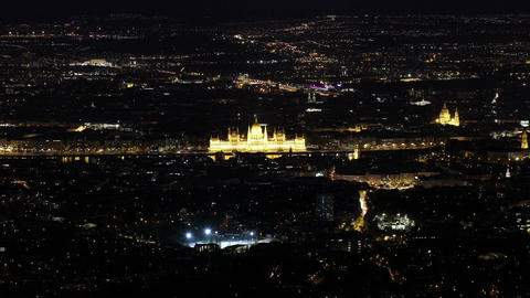 Budapest Hungary by Night Aerial View Timelapse 1 Footage