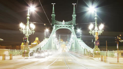 Liberty Bridge at Night Budapest Hungary Timelapse Footage