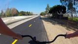 Riding Bicycle On The San Gabriel River Trail stock footage