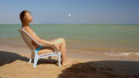 Sunbathing on the beach Footage