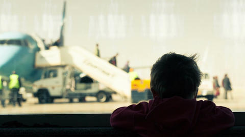 Little boy at the airport Footage