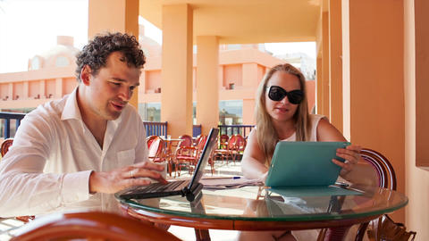 Young Couple With Laptop And Pad stock footage