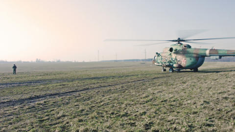 Military Helicopter Ready To Flight stock footage