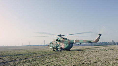 Russian Military Helicopter ready to flight Footage