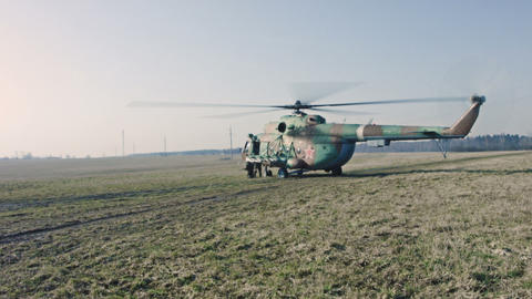 Soldiers getting into the helicopter Footage