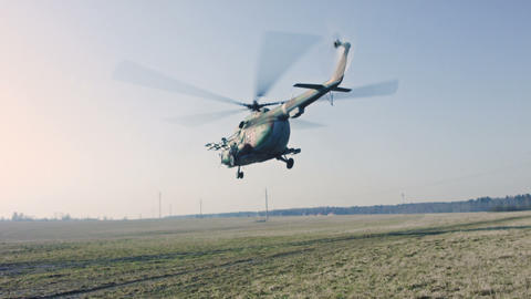 Military helicopter taking off Footage