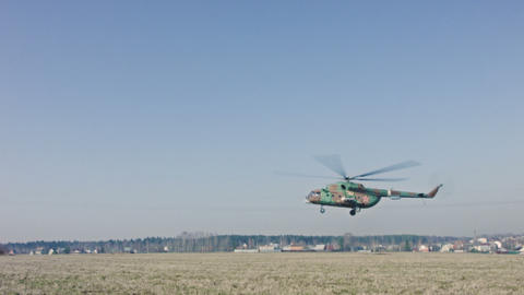 Military Helicopter Is Landing stock footage