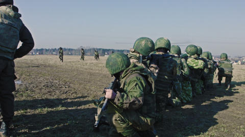 Soldiers in the field during the military operatio Footage