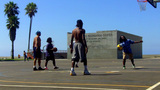 Basketball Court At Venice Beach Recreation Center stock footage