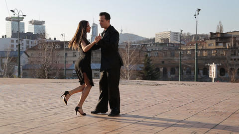 Professional dancers dancing at the streets of Sar Footage