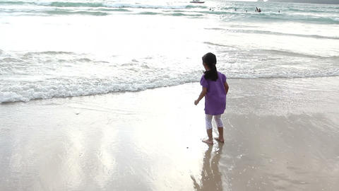 Happy cute girl on the beach Footage