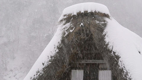 Snow falling on the roof,in Toyama,Japan Footage