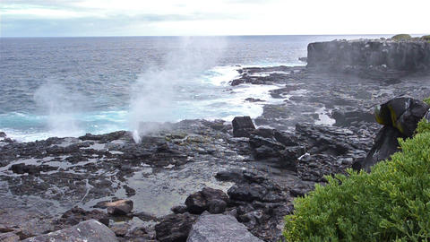 Wide angle of a saltwater blowhole at Punta Suarez Footage