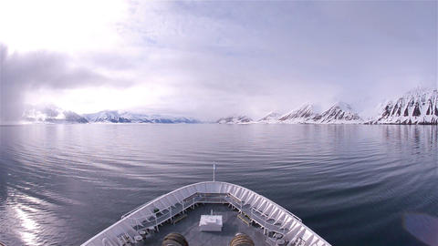 Bow point of view of an icebreaker ship sailing th Footage