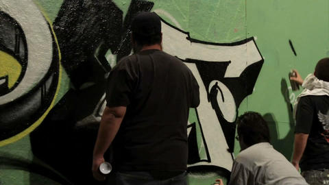 Time lapse shot of graffiti being sprayed on a wal Footage