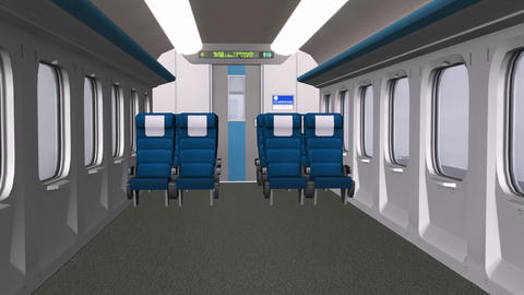 Train interior,aircraft cabin interior.Close-up of modern train Animation