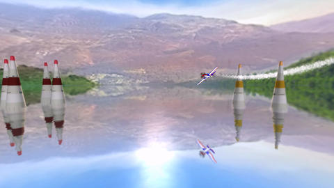 Stunt plane flying in blue sky,lake & mountain for training.long drag of smo Animation