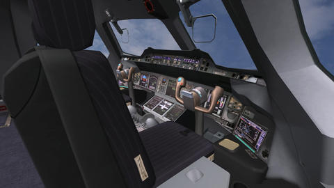 Aircraft cockpit,high-tech dashboard,Pilots operating plane Stock Video Footage