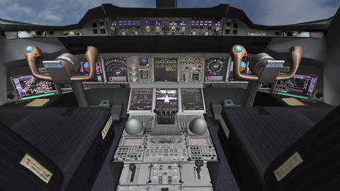Aircraft cockpit,high-tech dashboard,Pilots operating plane Animation