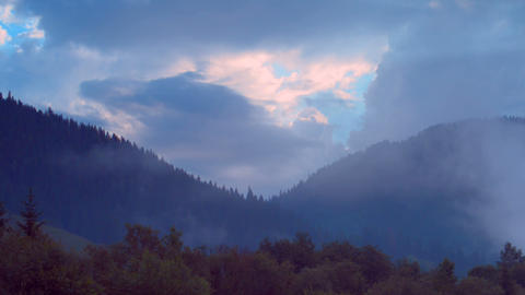 The movement of clouds high in the Carpathian Moun Footage