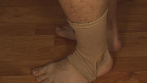 Man Testing Ankle Guard, Ankle Pain, Injury, Accid Footage