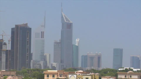 zoom pan from emirate towers to burj dubai Stock Video Footage