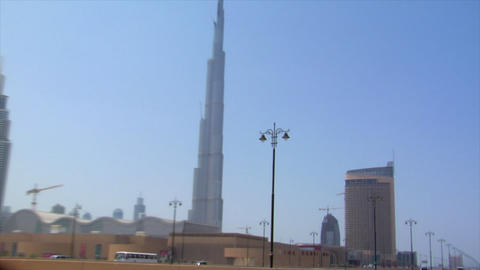 zoom pan from emirate towers to burj dubai Footage