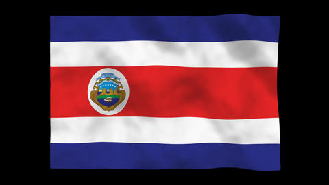 Flag A084 CRI Costa Rica Stock Video Footage