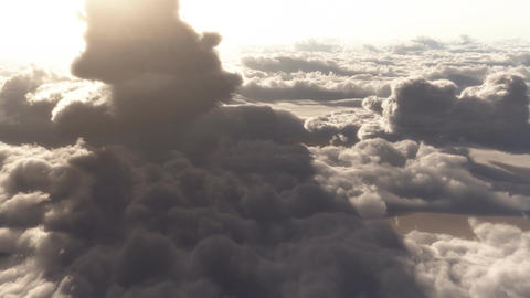 (1146) Dramatic High Altitude Clouds Aerial Heaven Flight Footage