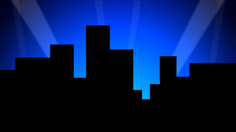 City Skyline w/ Animated Search Lights 01 (25fps) Stock Video Footage