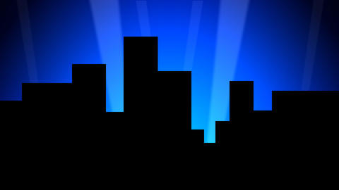 City Skyline w/ Animated Search Lights 01 (25fps) Animation
