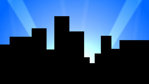 City Skyline w/ Animated Search Lights 02 (25fps) Stock Video Footage