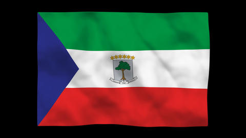 Flag A100 GNQ Equatorial Guinea Stock Video Footage