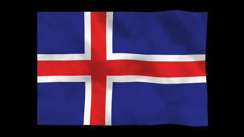 Flag A102 ISL Iceland Stock Video Footage