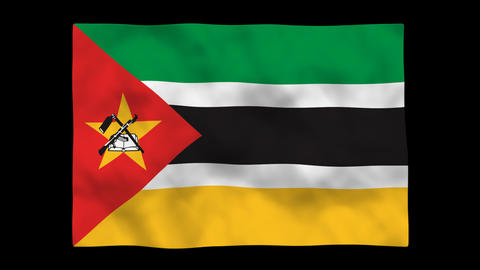 Flag A120 MOZ Mozambique Stock Video Footage