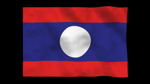 Flag A136 LAO Lao PDR Stock Video Footage