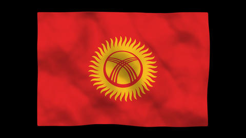 Flag A138 KGZ Kyrgyzst Stock Video Footage