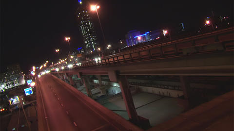 Traffic in night Moscow time lapse Footage