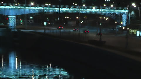Traffic in night Moscow time lapse Stock Video Footage