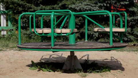 Carousel on playground stop rotation Stock Video Footage