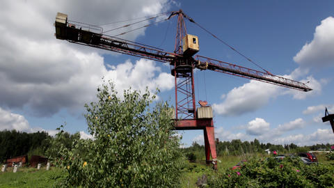 View on old crane and sky cloudscape Stock Video Footage