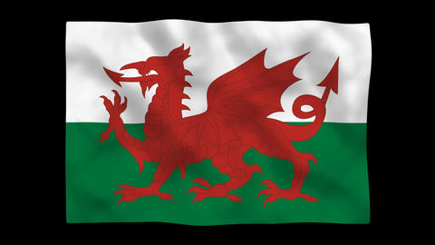 Flag A150 WAI Wales HD Stock Video Footage