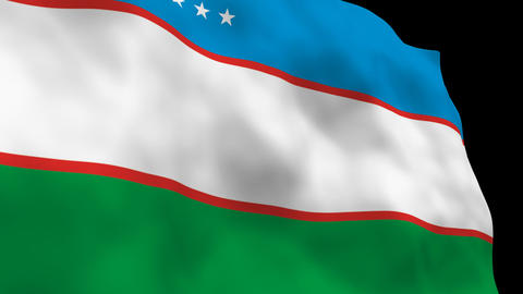 Flag B086 UZB Uzbekistan Stock Video Footage