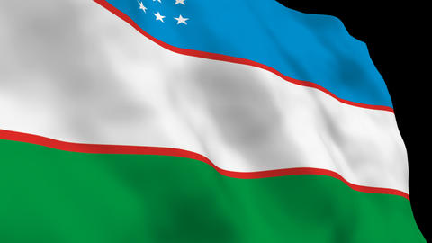 Flag B086 UZB Uzbekistan Stock Video Footage