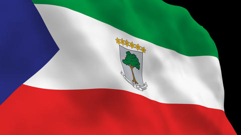Flag B100 GNQ Equatorial Guinea Stock Video Footage