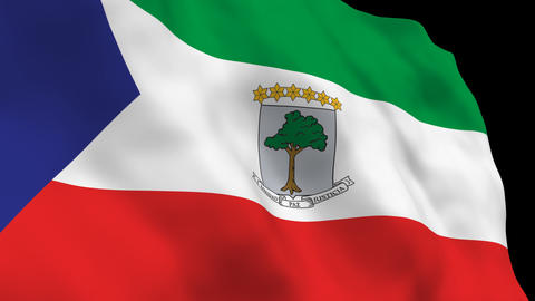 Flag B100 GNQ Equatorial Guinea Stock Video Footage