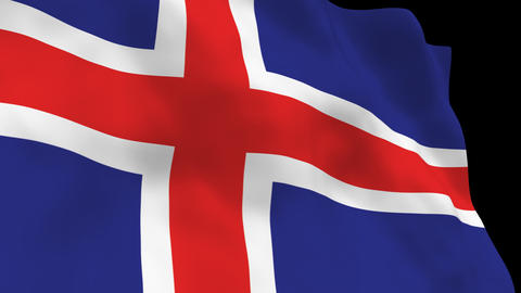 Flag B102 ISL Iceland Stock Video Footage