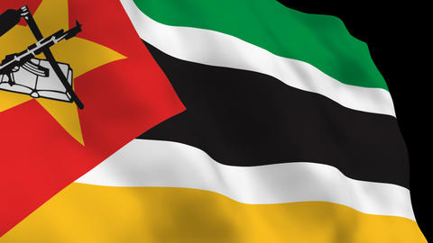 Flag B120 MOZ Mozambique Stock Video Footage
